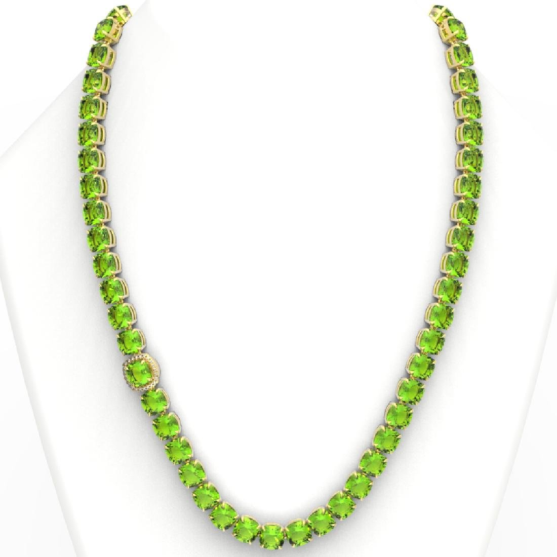 100 CTW Peridot & VS/SI Diamond Solitaire Necklace 14K - 3