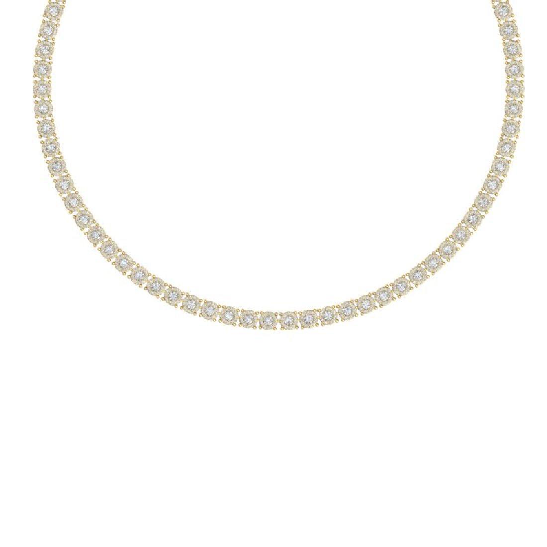 12 CTW Certified SI/I Diamond Halo Necklace 18K Yellow