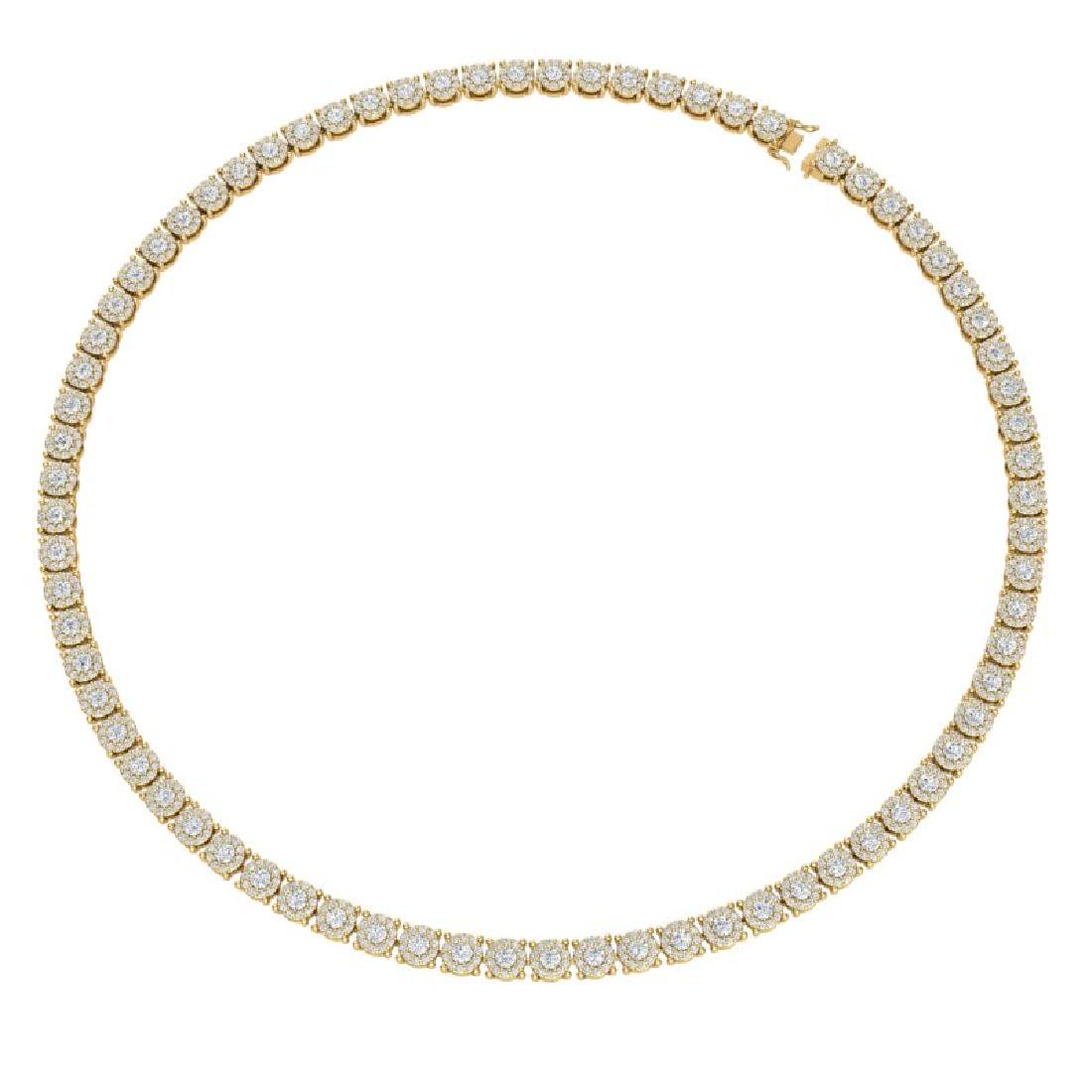 12 CTW Certified SI/I Diamond Halo Necklace 18K Yellow - 3