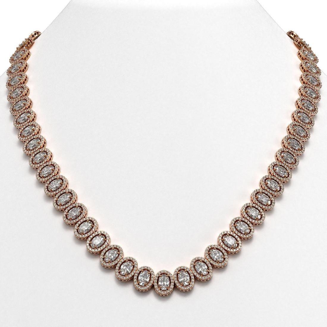42.56 CTW Oval Diamond Designer Necklace 18K Rose Gold