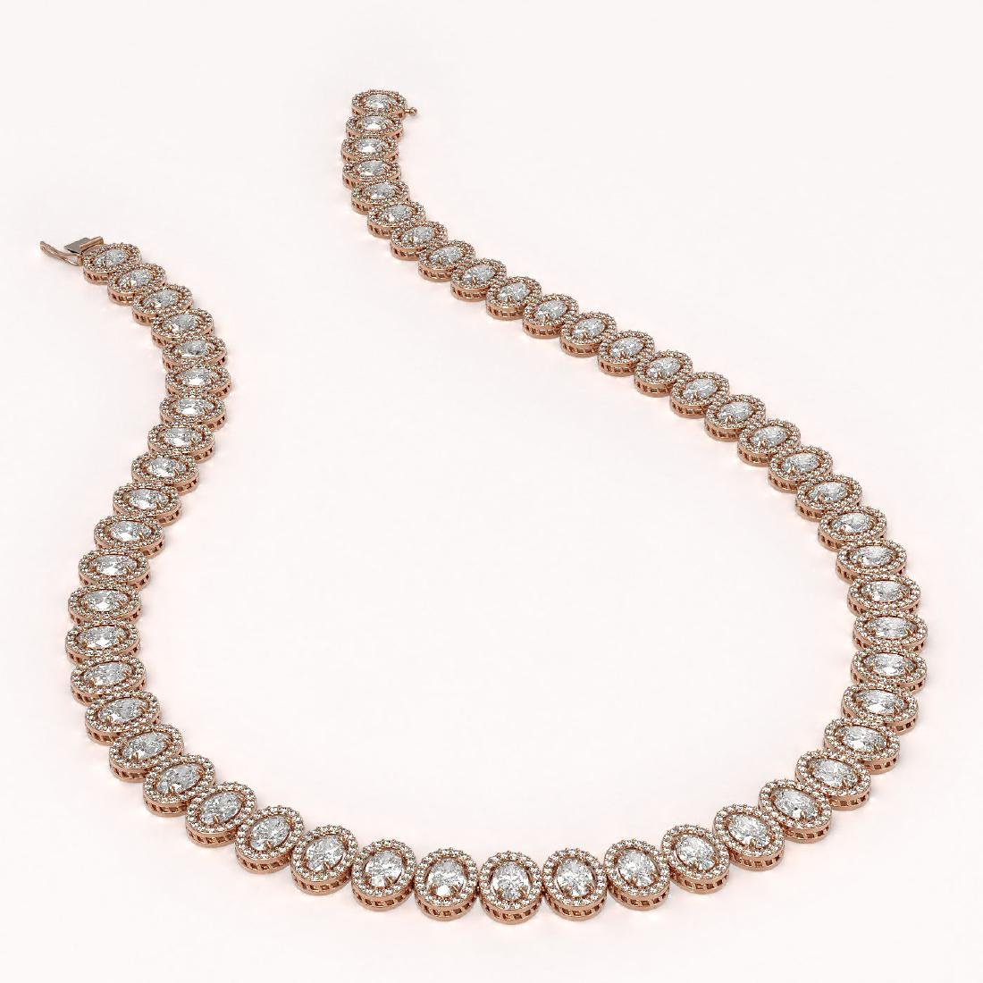 42.56 CTW Oval Diamond Designer Necklace 18K Rose Gold - 2