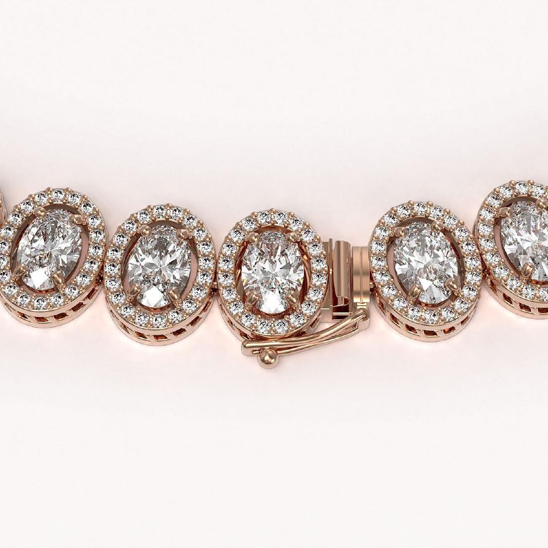 42.56 CTW Oval Diamond Designer Necklace 18K Rose Gold - 3