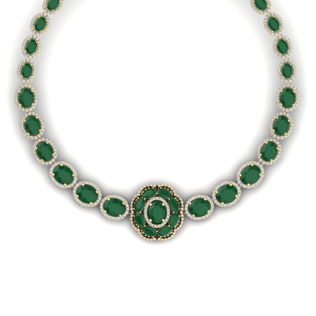 58.33 CTW Royalty Emerald & VS Diamond Necklace 18K - 2
