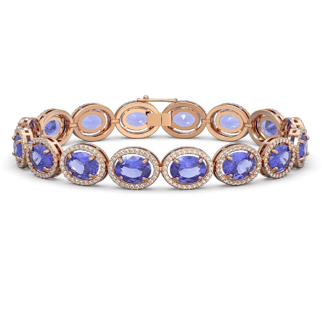 27.28 CTW Tanzanite & Diamond Halo Bracelet 10K Rose