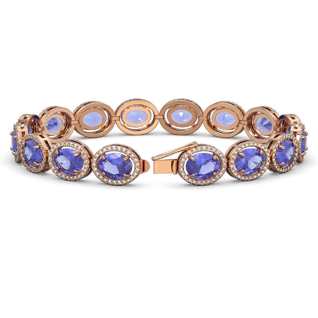 27.28 CTW Tanzanite & Diamond Halo Bracelet 10K Rose - 2