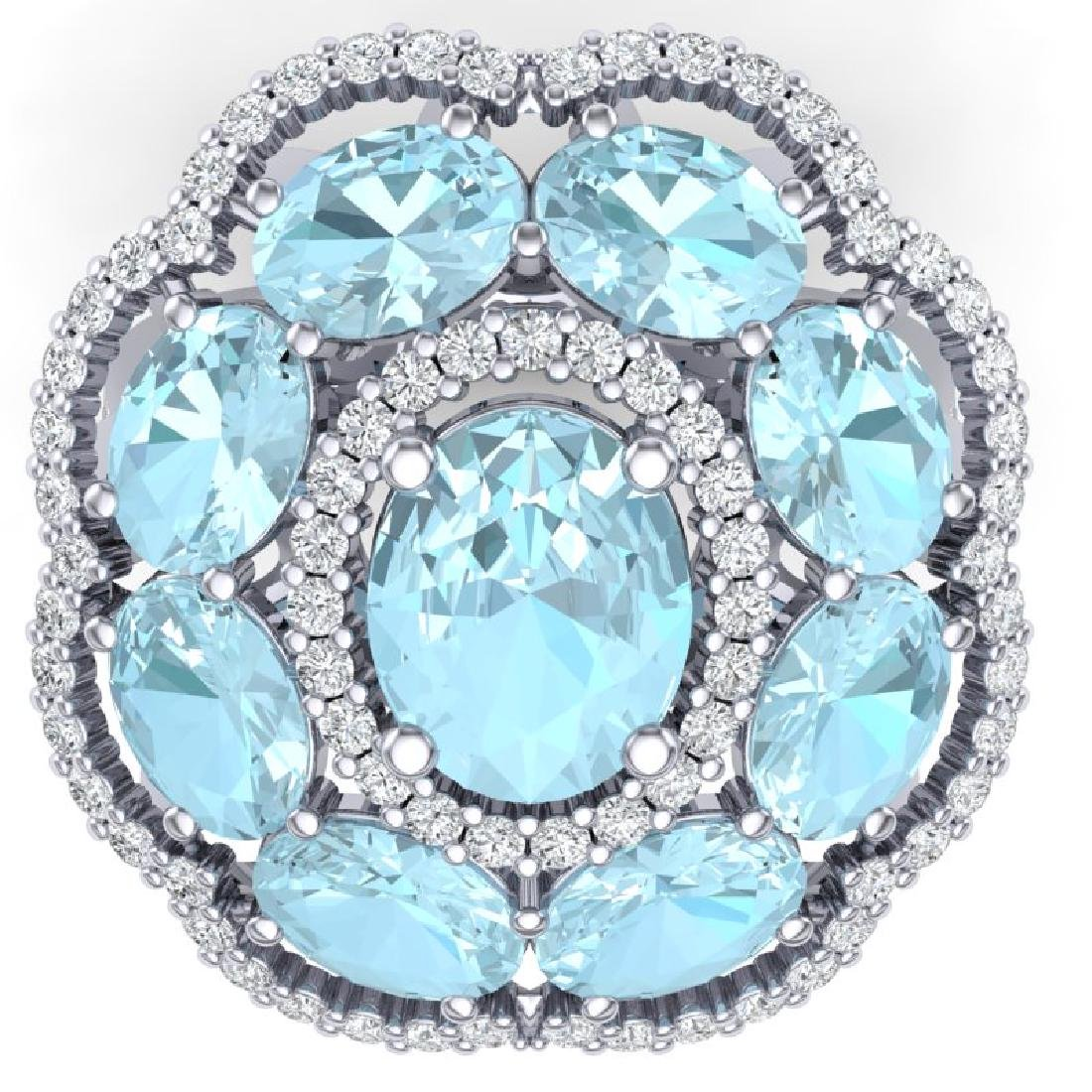 14.89 CTW Royalty Sky Topaz & VS Diamond Ring 18K White - 2