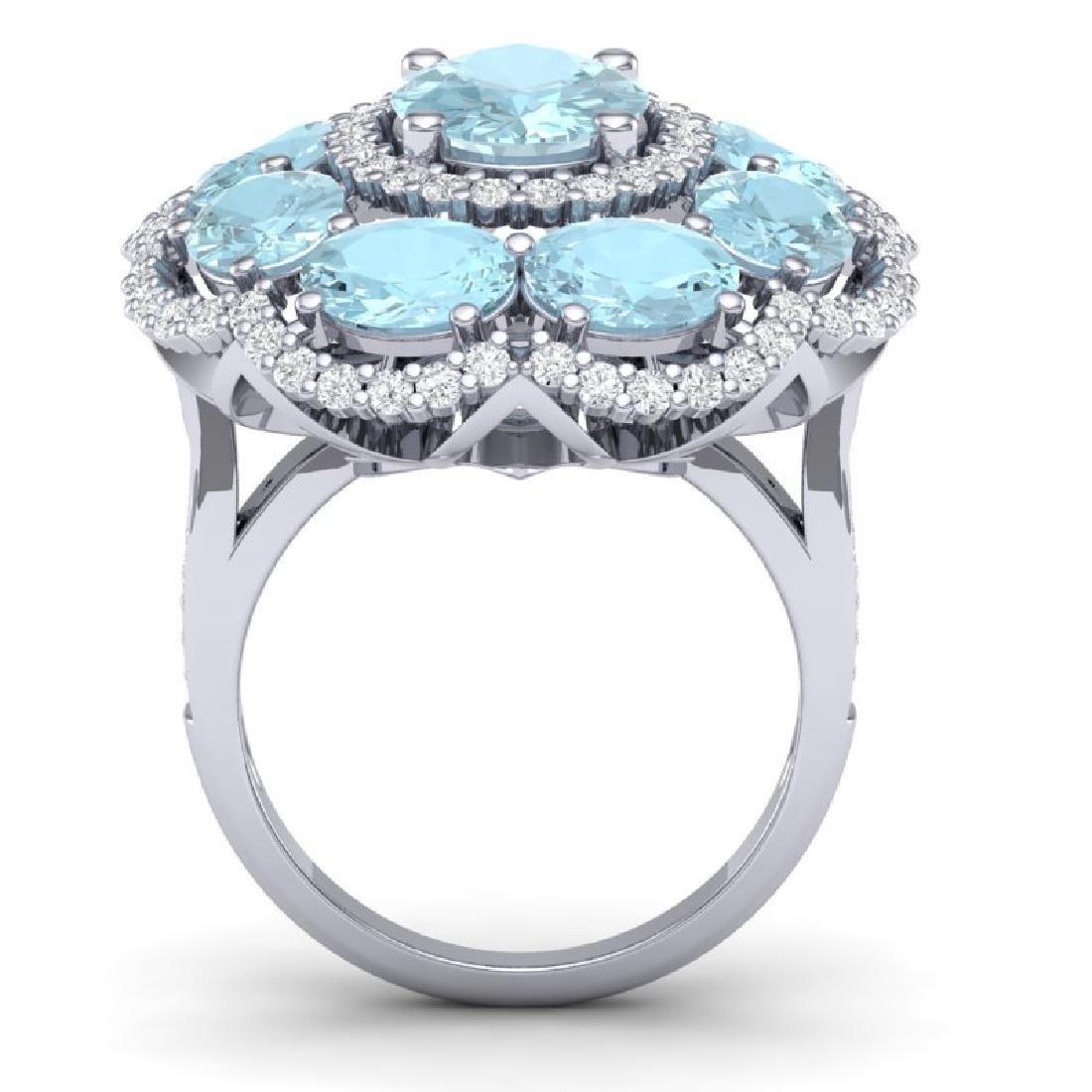 14.89 CTW Royalty Sky Topaz & VS Diamond Ring 18K White - 3