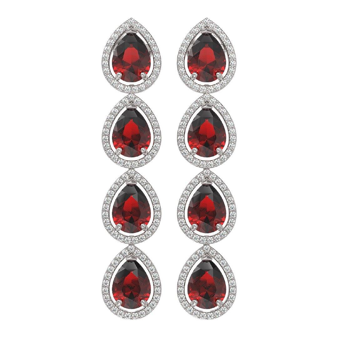 9.25 CTW Garnet & Diamond Halo Earrings 10K White Gold