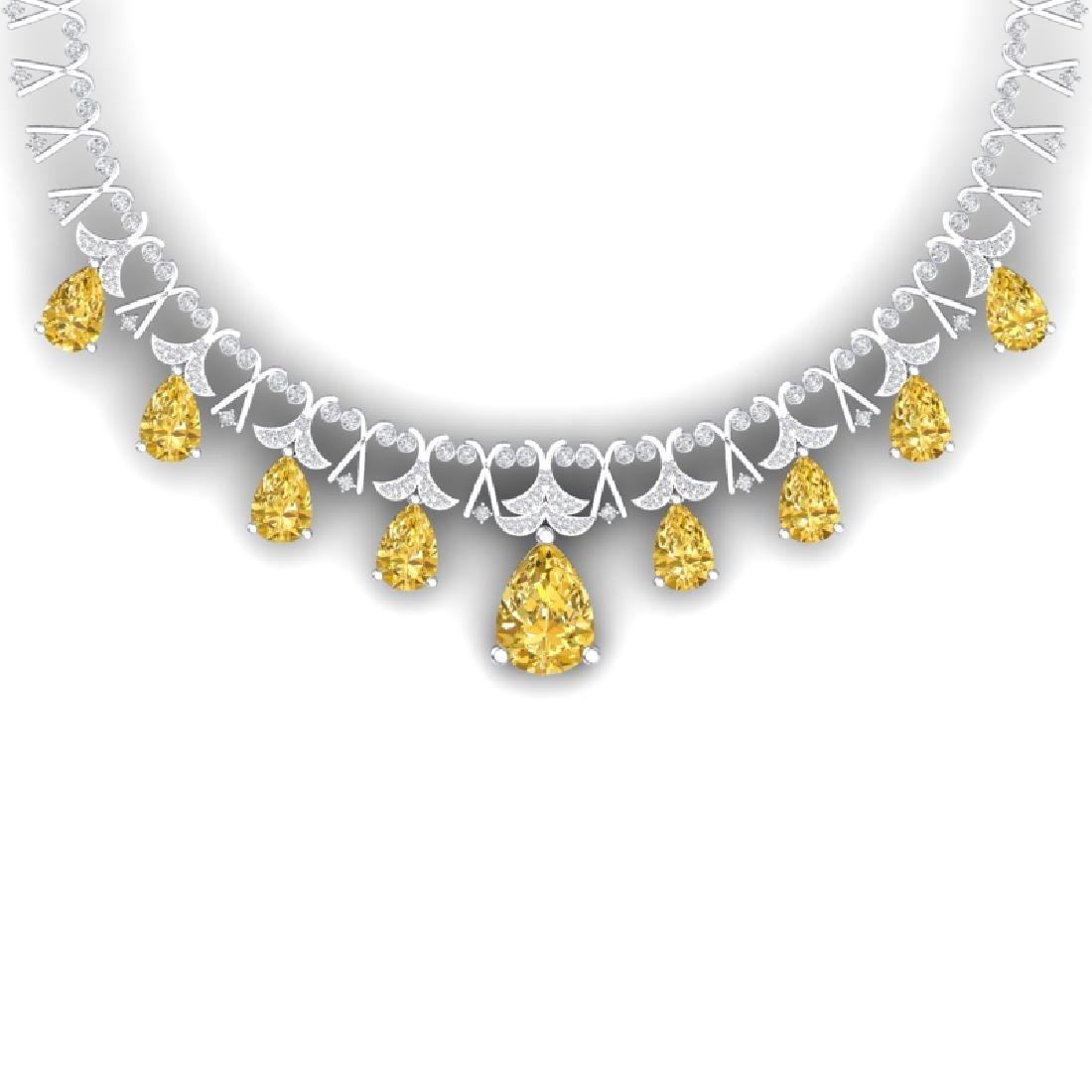 55.49 CTW Royalty Canary Citrine & VS Diamond Necklace