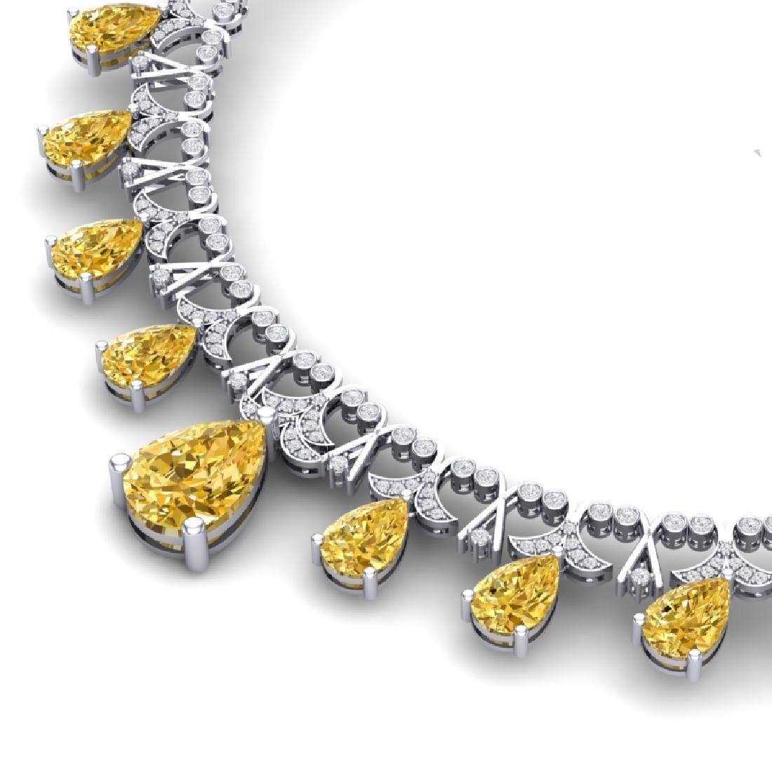 55.49 CTW Royalty Canary Citrine & VS Diamond Necklace - 2