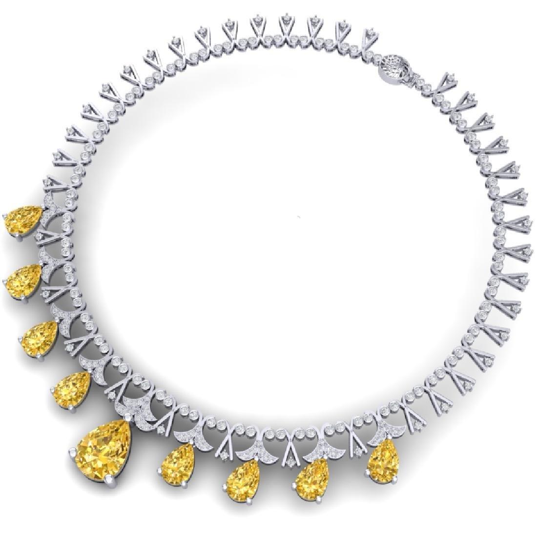 55.49 CTW Royalty Canary Citrine & VS Diamond Necklace - 3