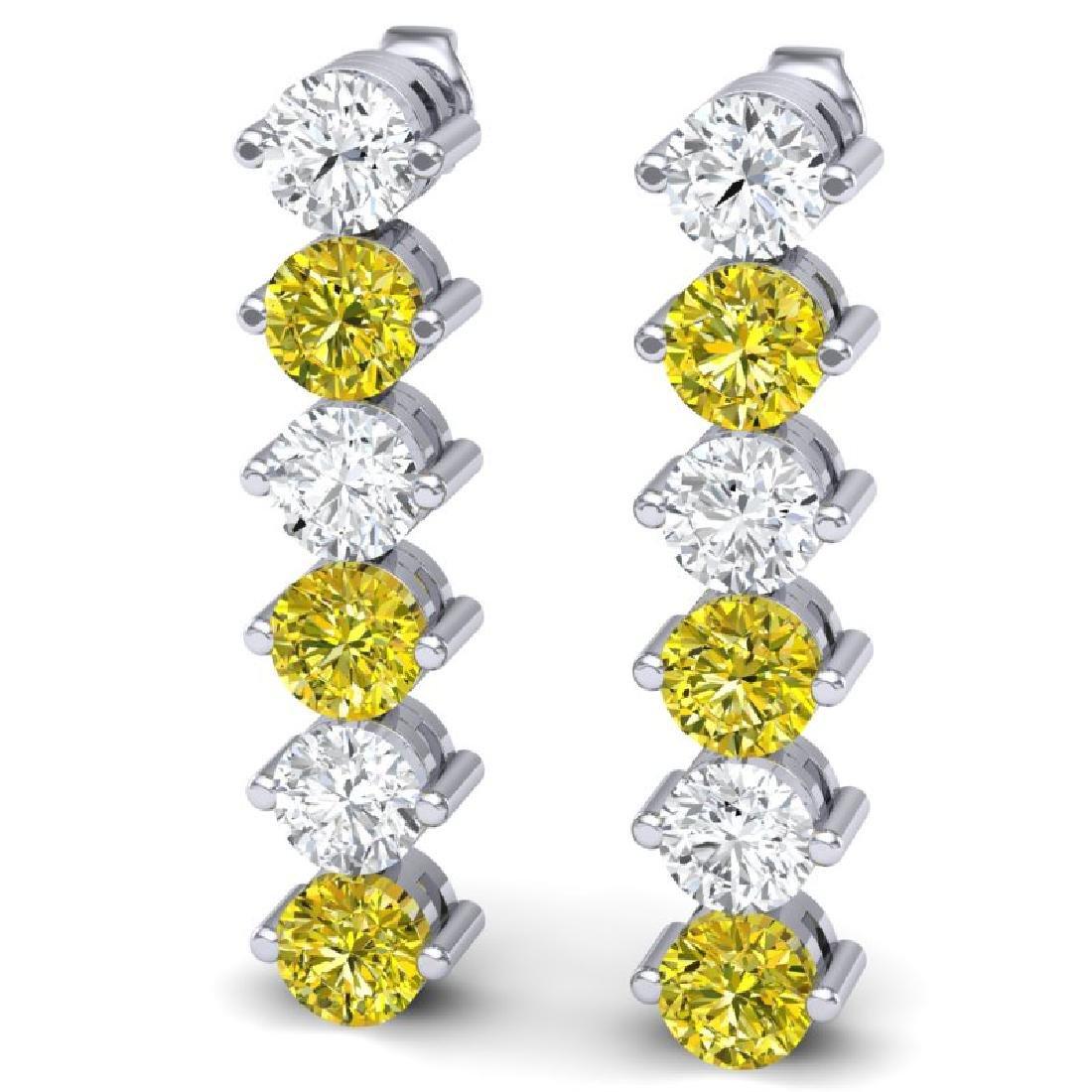 6 CTW Certified SI/I Fancy Yellow & White Diamond - 2