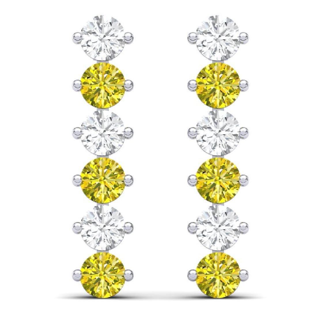 6 CTW Certified SI/I Fancy Yellow & White Diamond - 3