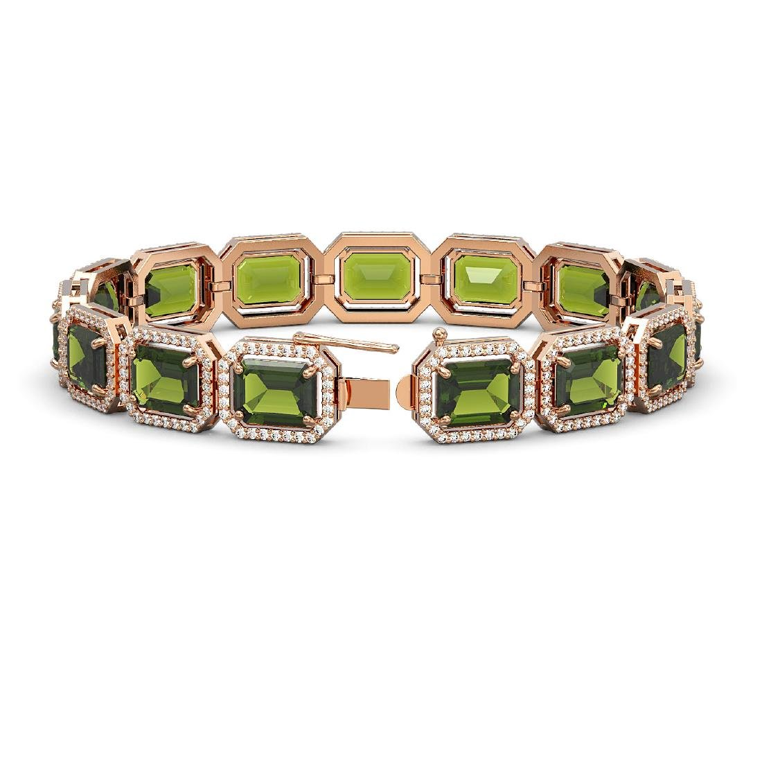 36.51 CTW Tourmaline & Diamond Halo Bracelet 10K Rose - 2