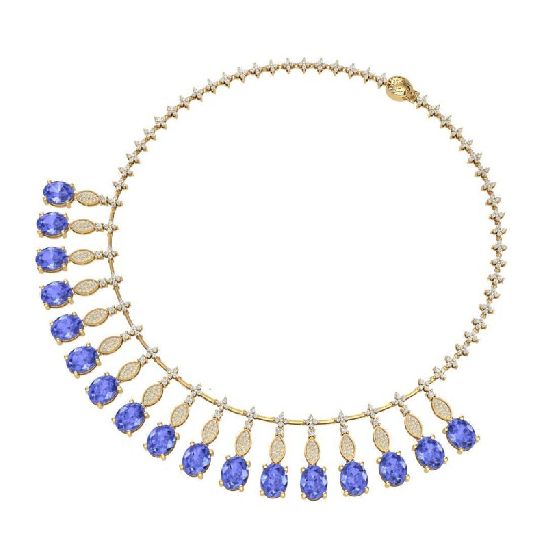 57.15 CTW Royalty Tanzanite & VS Diamond Necklace 18K - 3