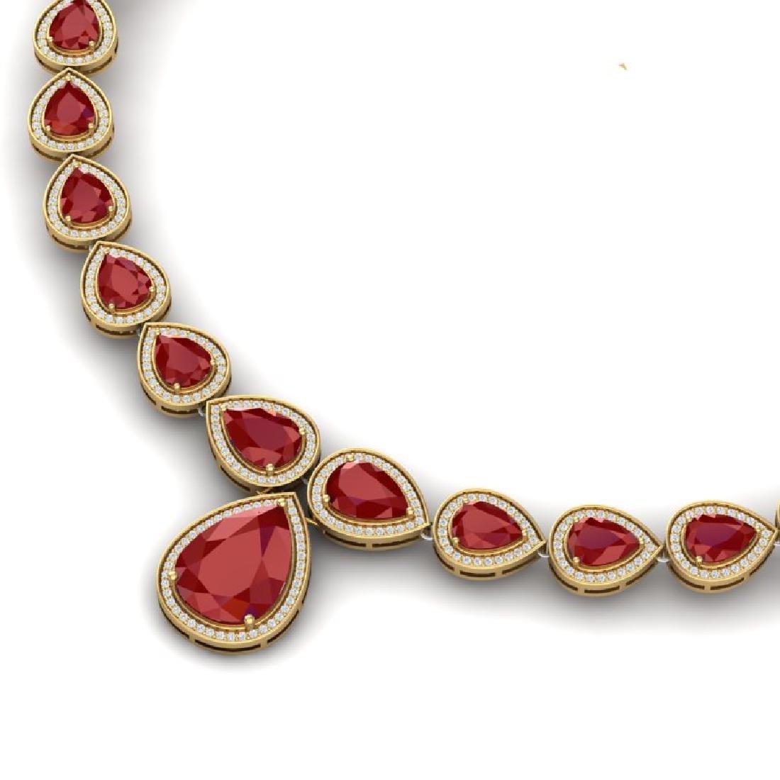 51.41 CTW Royalty Ruby & VS Diamond Necklace 18K Yellow - 2