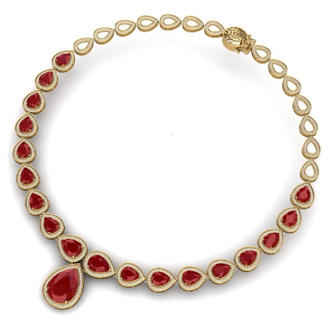 51.41 CTW Royalty Ruby & VS Diamond Necklace 18K Yellow - 3