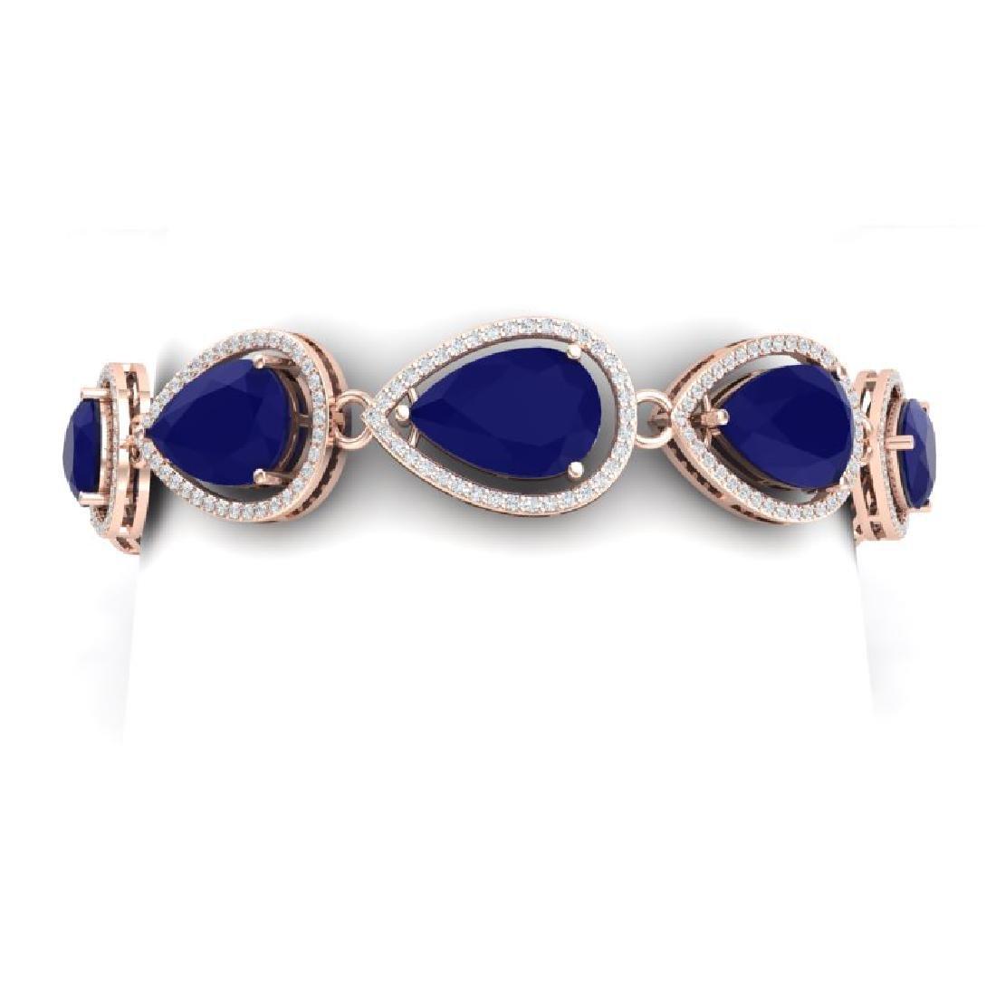 28.31 CTW Royalty Sapphire & VS Diamond Bracelet 18K