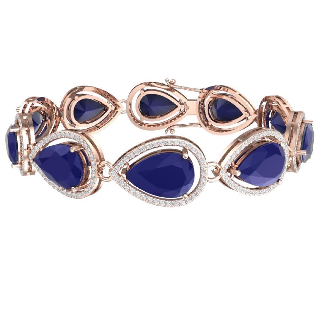 28.31 CTW Royalty Sapphire & VS Diamond Bracelet 18K - 3