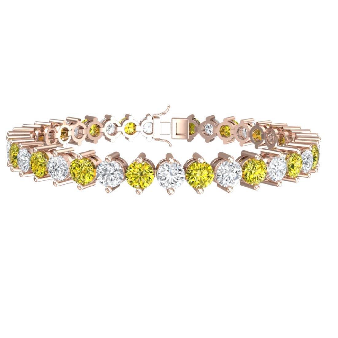 20 CTW SI/I Fancy Yellow & White Diamond Bracelet 18K - 3