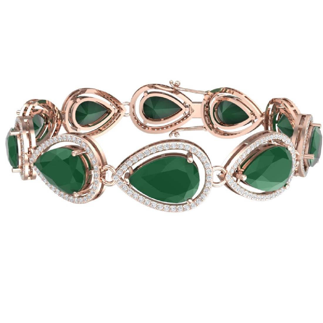 28.31 CTW Royalty Emerald & VS Diamond Bracelet 18K - 2