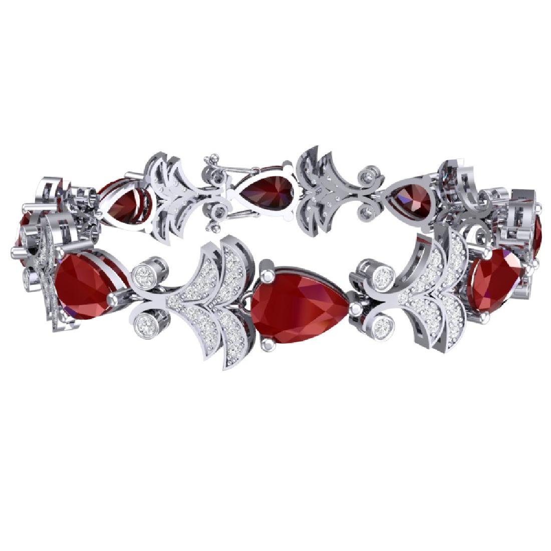 24.8 CTW Royalty Designer Ruby & VS Diamond Bracelet - 3