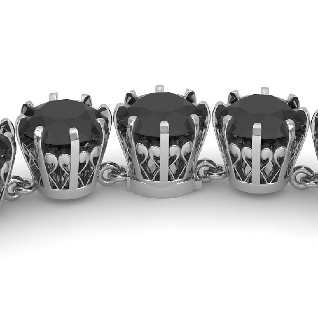 54 CTW Certified Black VS Diamond Necklace 14K White