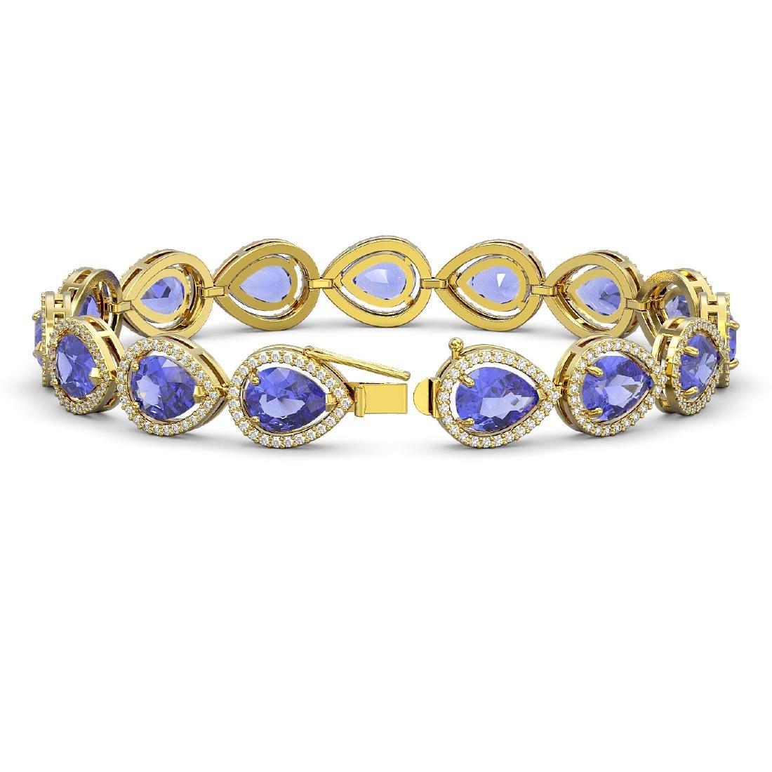 21.06 CTW Tanzanite & Diamond Halo Bracelet 10K Yellow - 2