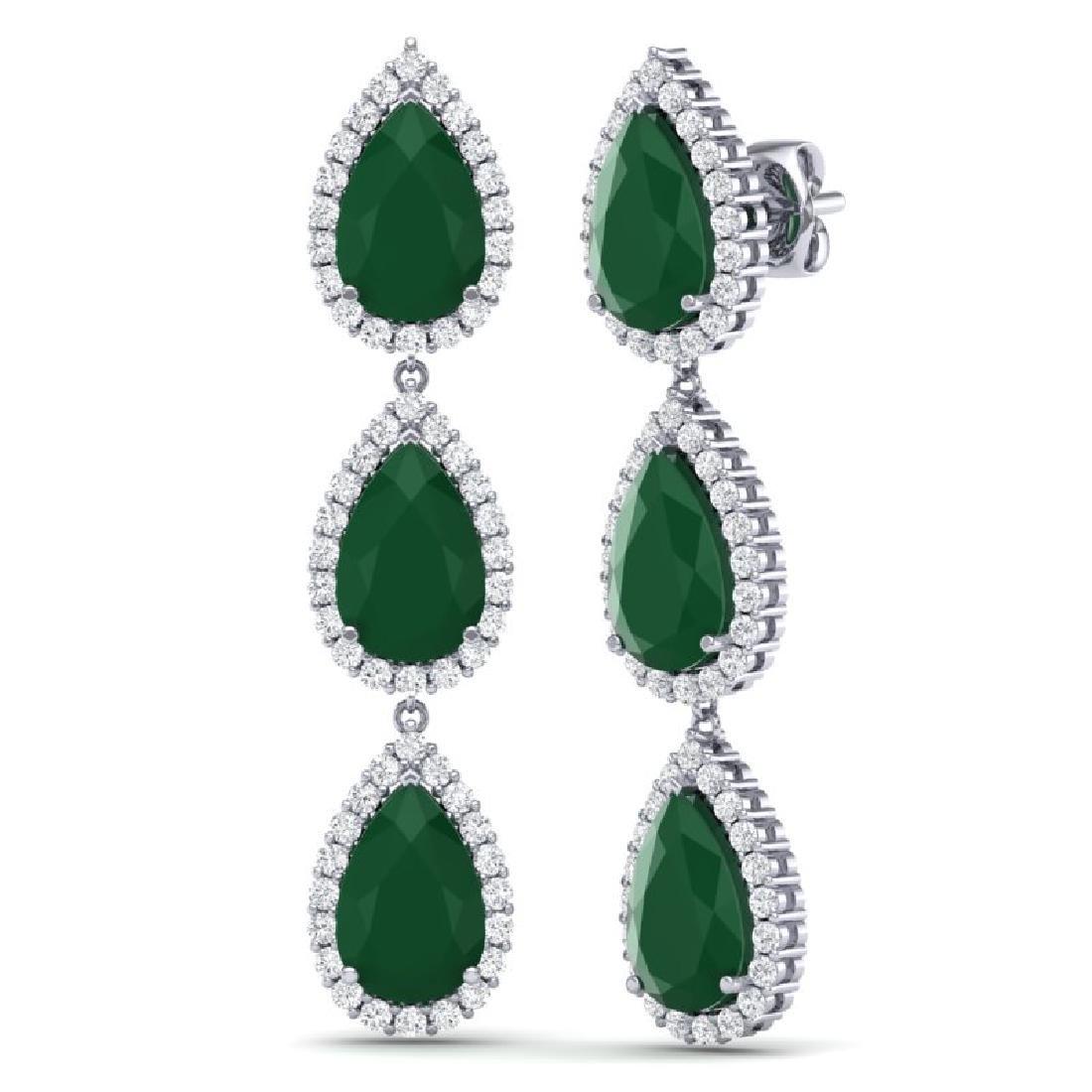 27.06 CTW Royalty Emerald & VS Diamond Earrings 18K - 2