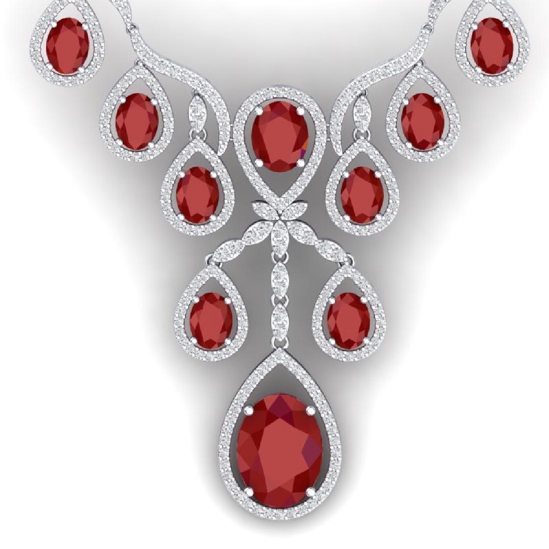 37.66 CTW Royalty Ruby & VS Diamond Necklace 18K White