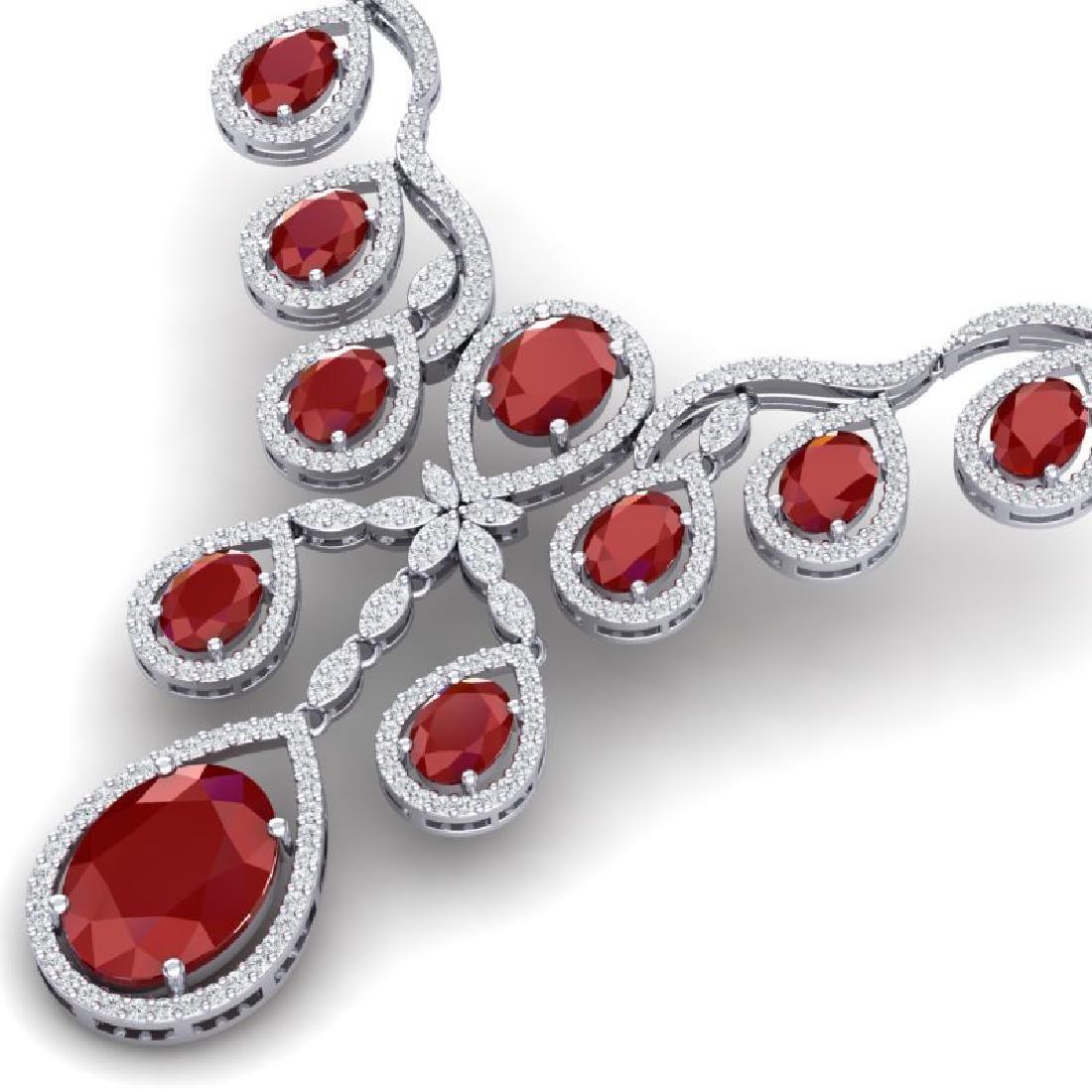 37.66 CTW Royalty Ruby & VS Diamond Necklace 18K White - 2