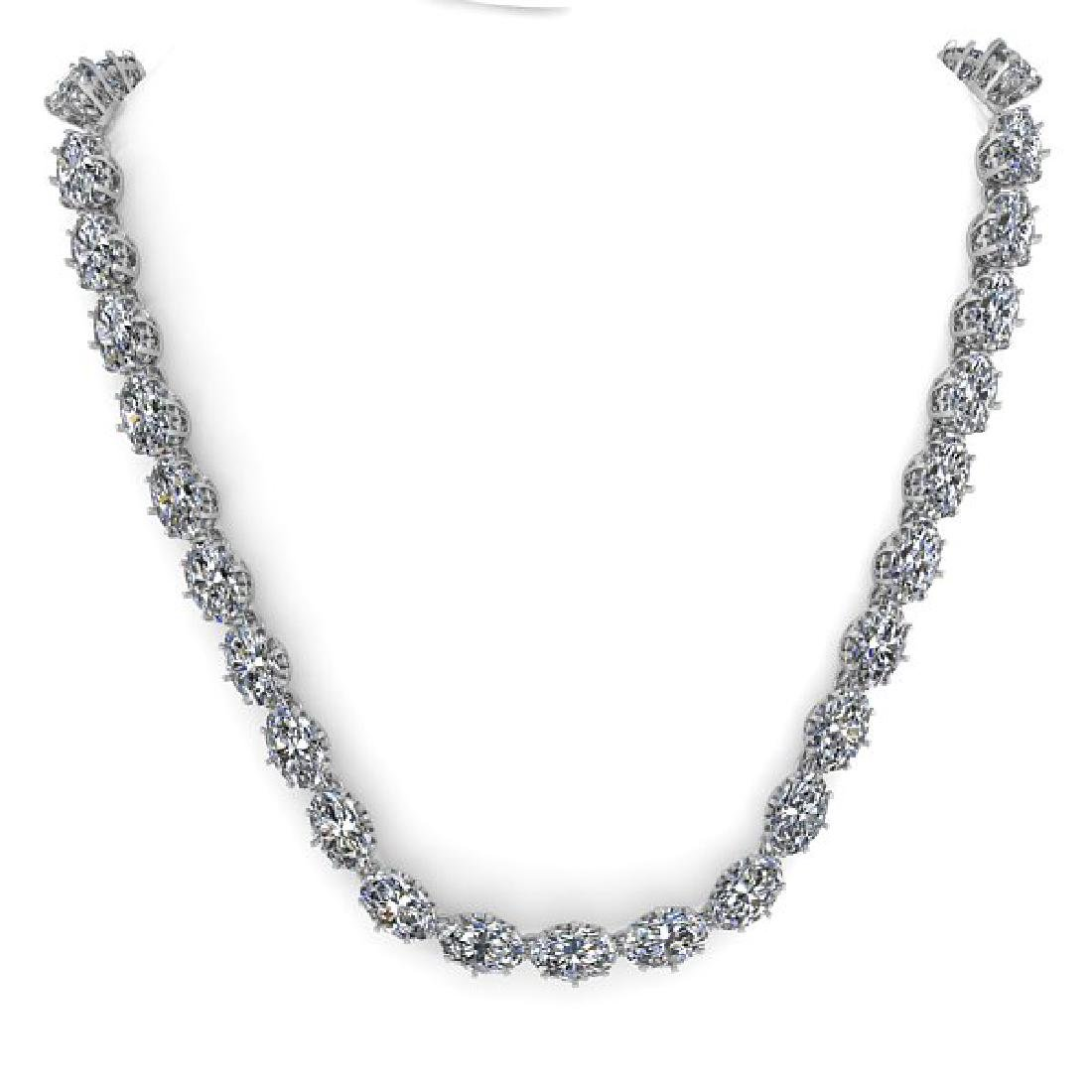 40 CTW Princess SI Certified Diamond Necklace 14K White - 3
