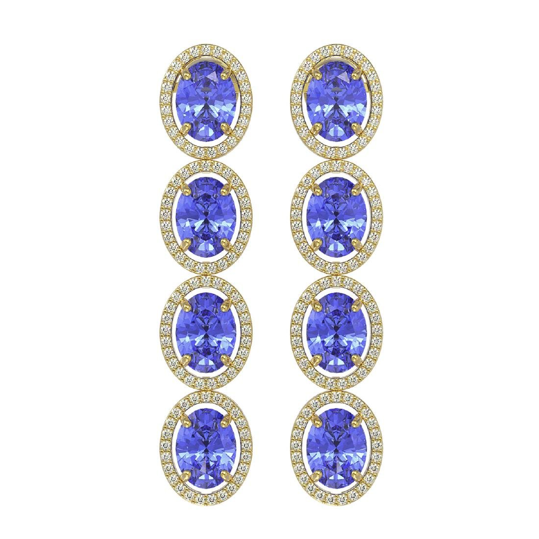13.64 CTW Tanzanite & Diamond Halo Earrings 10K Yellow