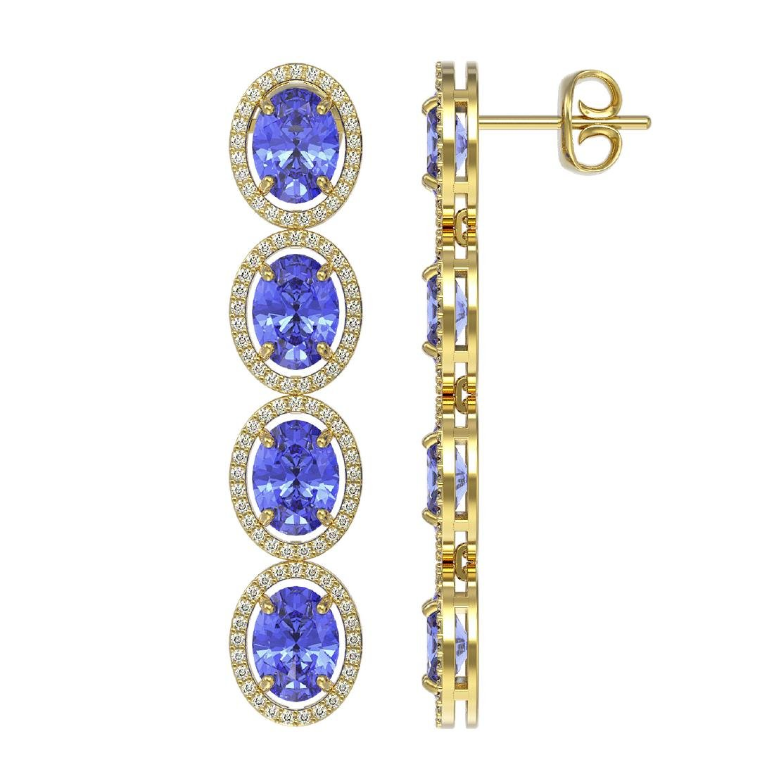 13.64 CTW Tanzanite & Diamond Halo Earrings 10K Yellow - 2