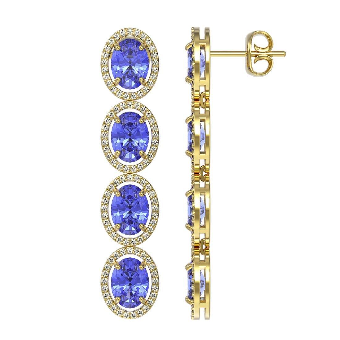13.64 CTW Tanzanite & Diamond Halo Earrings 10K Yellow - 2