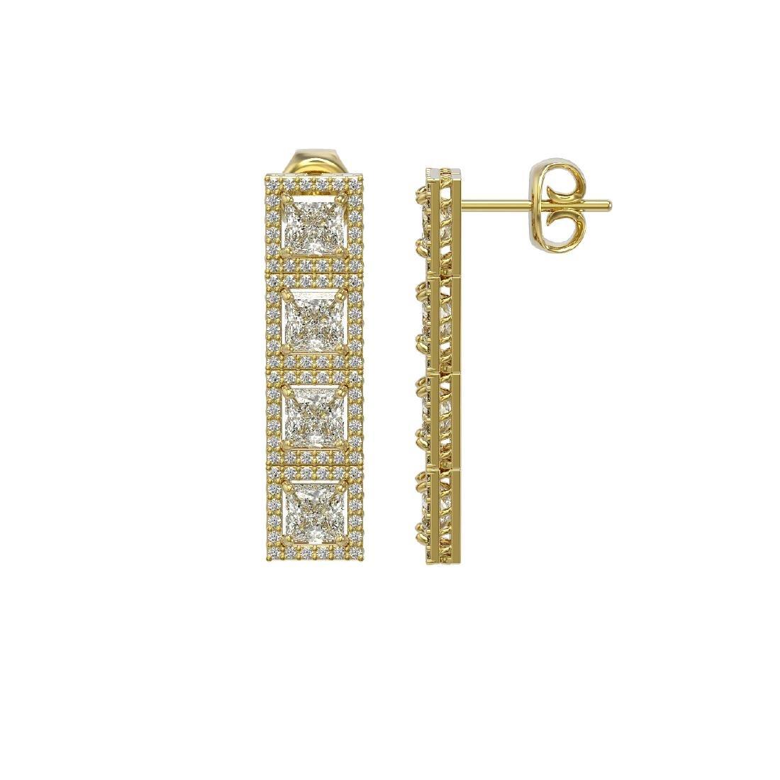 6.08 CTW Princess Diamond Designer Earrings 18K Yellow - 2