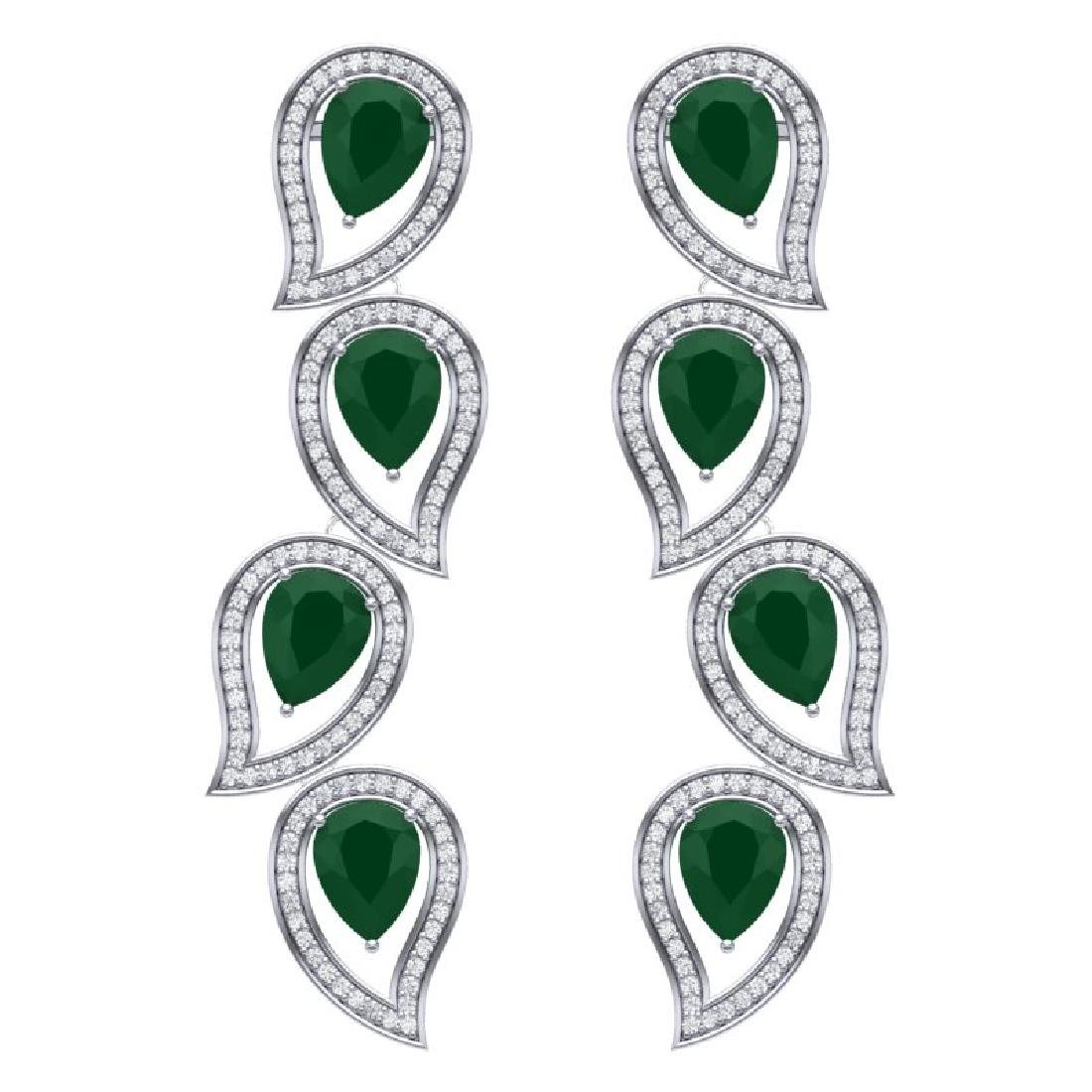 16.44 CTW Royalty Emerald & VS Diamond Earrings 18K