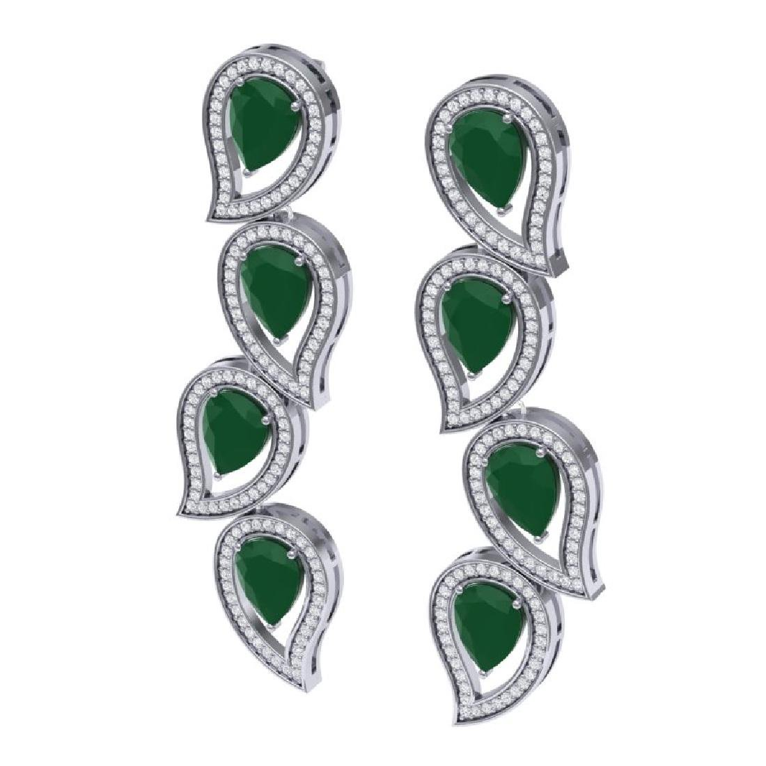16.44 CTW Royalty Emerald & VS Diamond Earrings 18K - 2