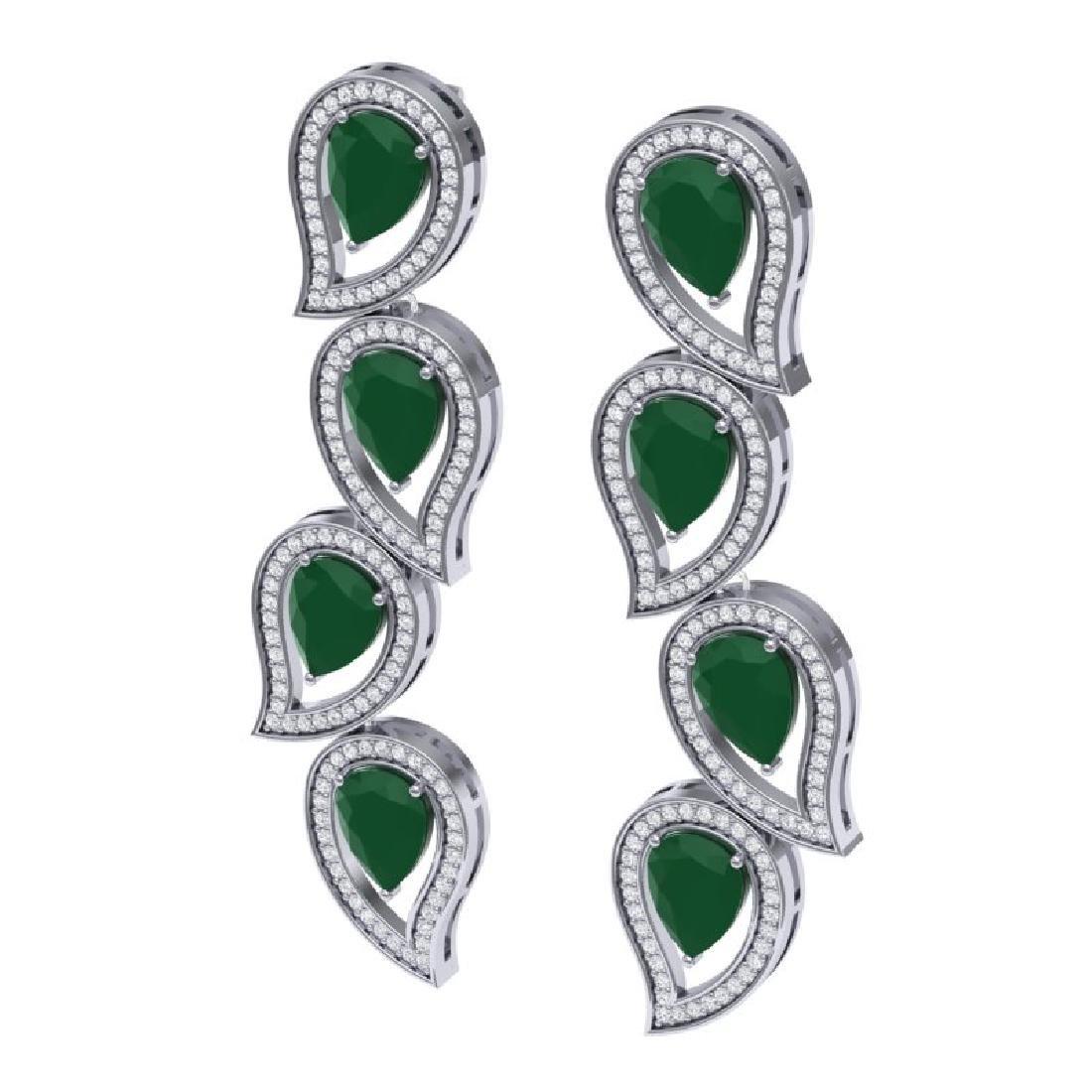 16.44 CTW Royalty Emerald & VS Diamond Earrings 18K - 2