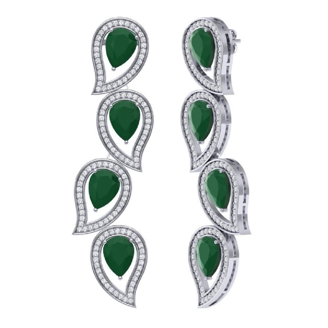 16.44 CTW Royalty Emerald & VS Diamond Earrings 18K - 3