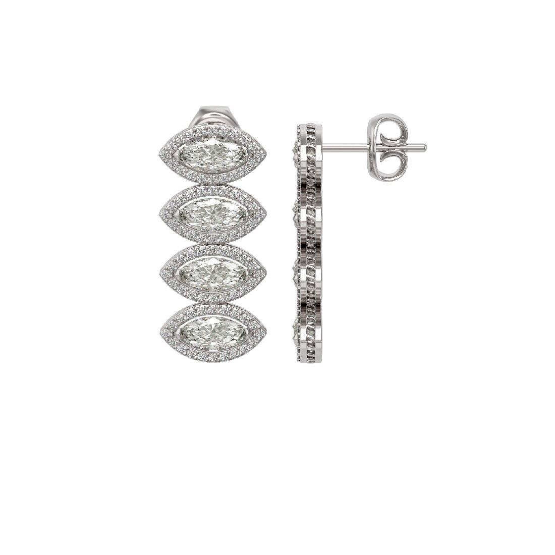 5.92 CTW Marquise Diamond Designer Earrings 18K White - 2