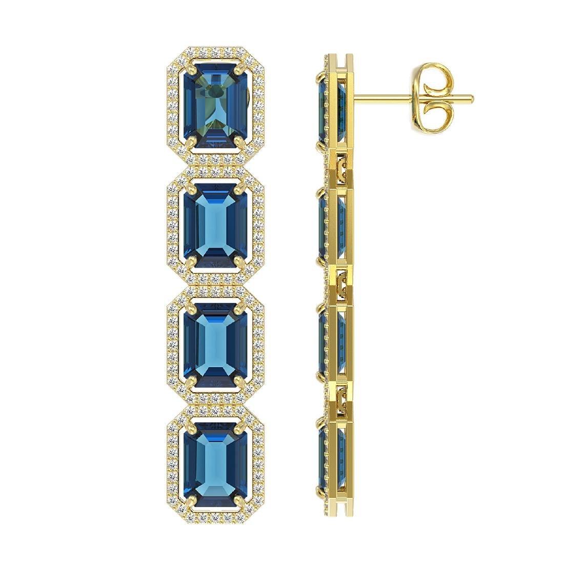 18.99 CTW London Topaz & Diamond Halo Earrings 10K - 2