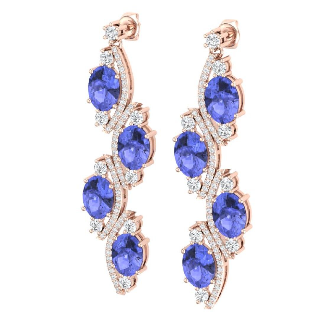 16.23 CTW Royalty Tanzanite & VS Diamond Earrings 18K - 2