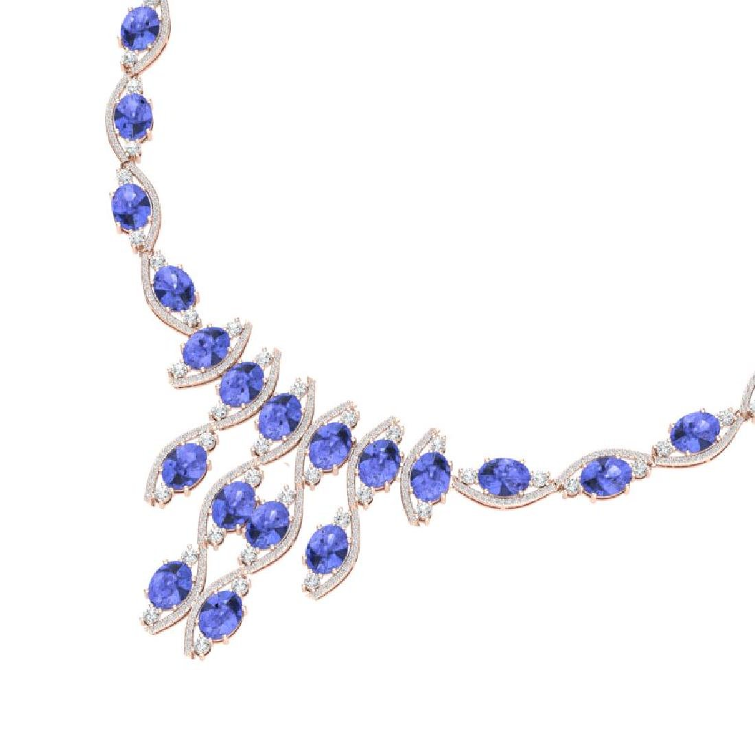 65.60 CTW Royalty Tanzanite & VS Diamond Necklace 18K