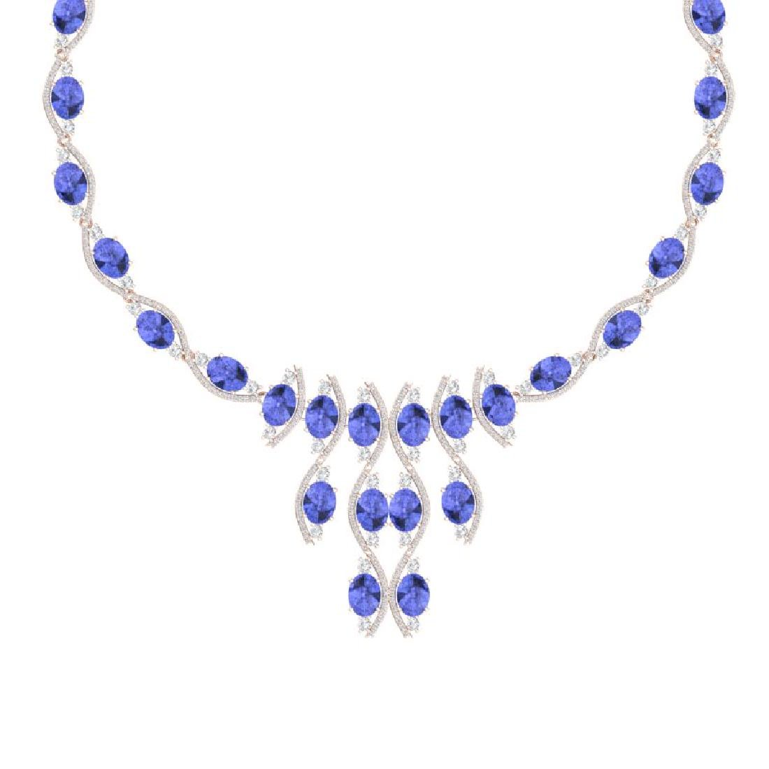 65.60 CTW Royalty Tanzanite & VS Diamond Necklace 18K - 2
