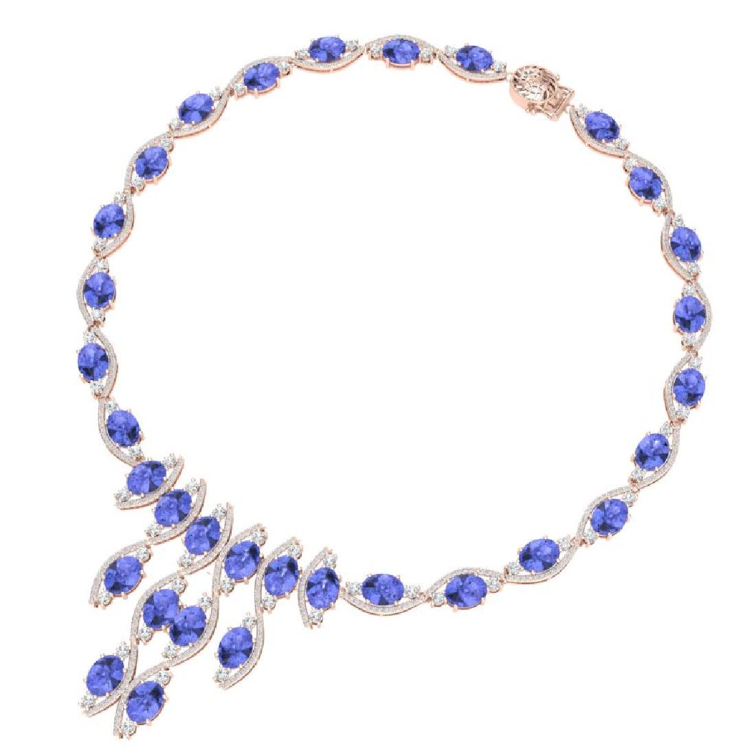 65.60 CTW Royalty Tanzanite & VS Diamond Necklace 18K - 3