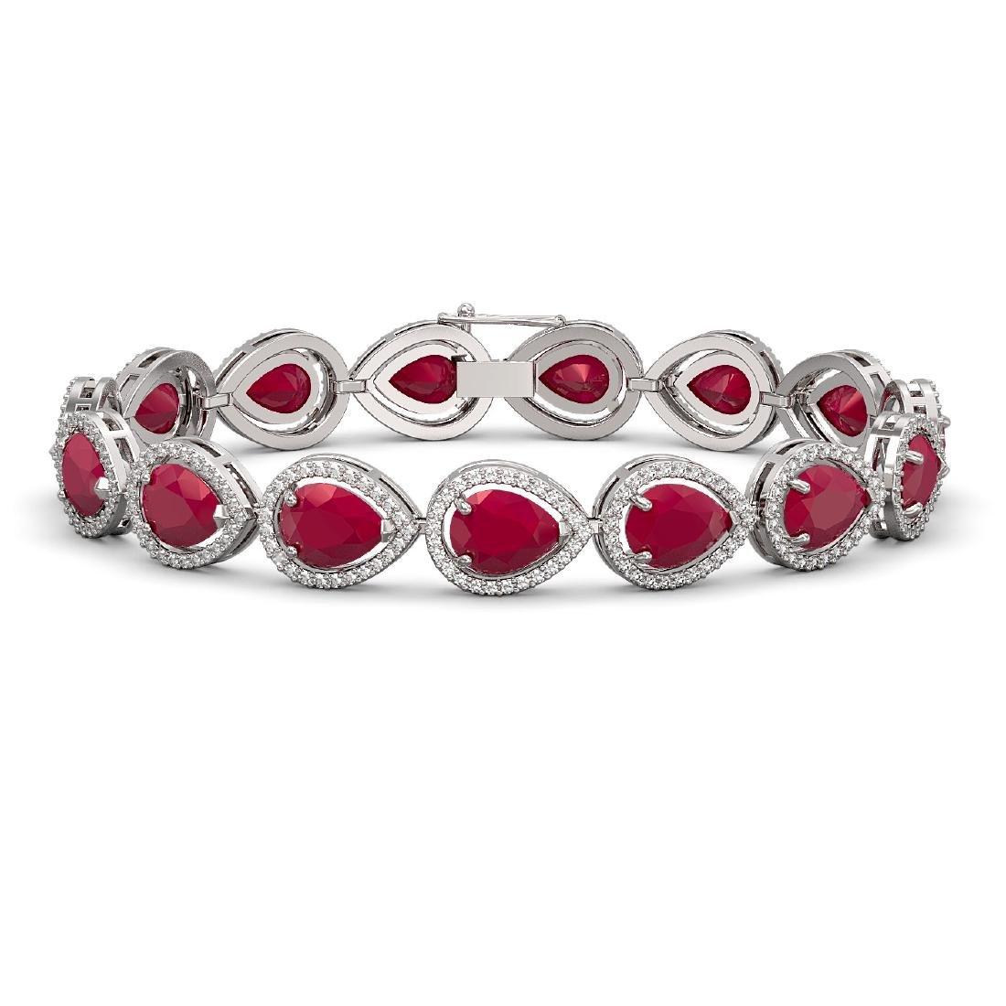 30.06 CTW Ruby & Diamond Halo Bracelet 10K White Gold