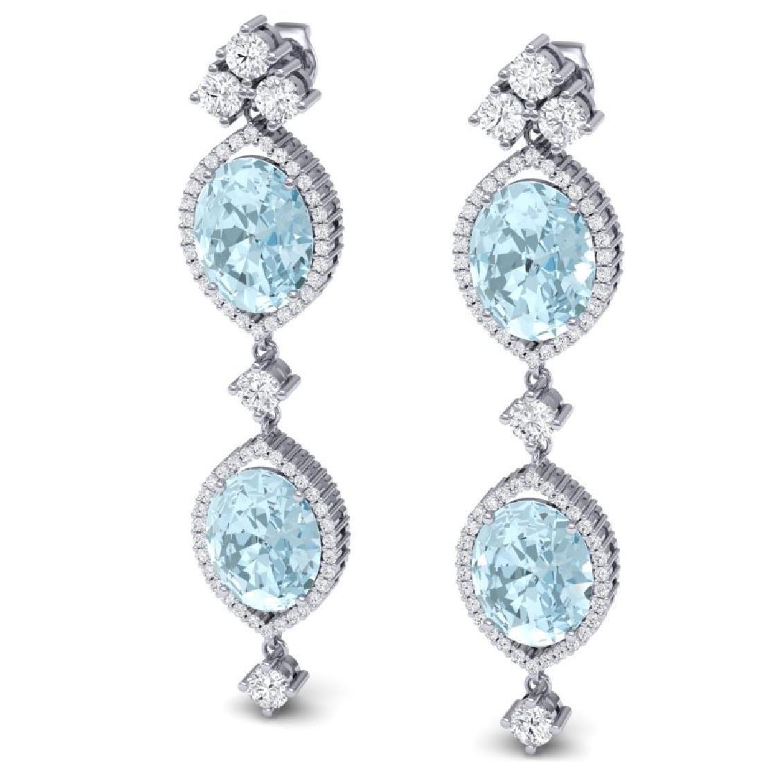 16.41 CTW Royalty Sky Topaz & VS Diamond Earrings 18K - 2