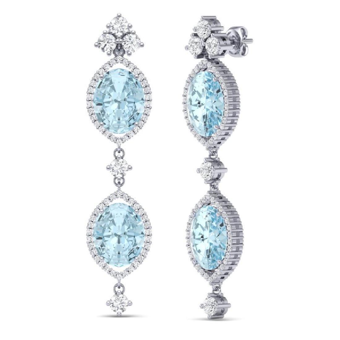 16.41 CTW Royalty Sky Topaz & VS Diamond Earrings 18K - 3
