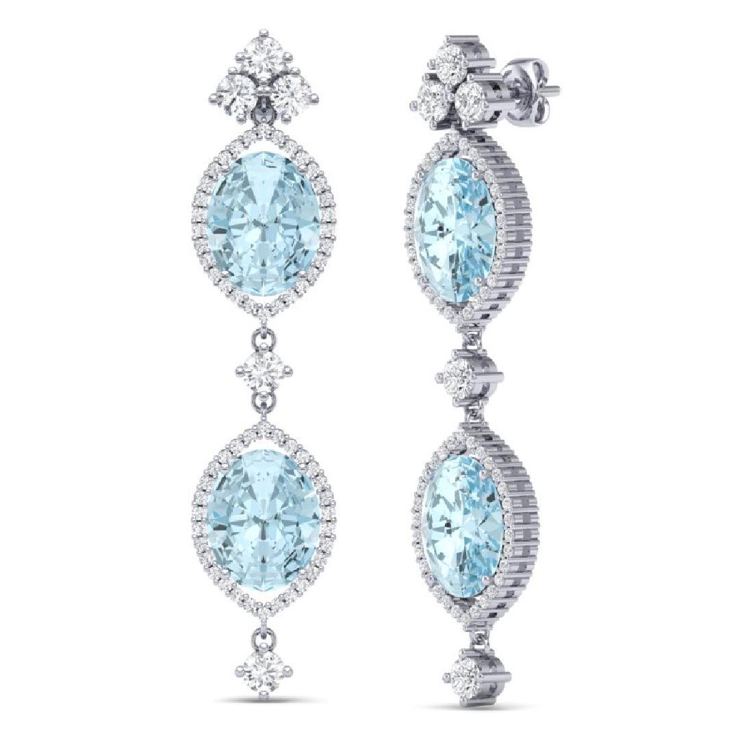 16.41 CTW Royalty Sky Topaz & VS Diamond Earrings 18K - 3